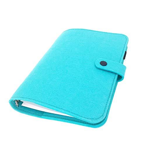 手帳 バインダー紐 システム カバー6穴 フェルト マテリアルシステムハンドブックビジネス学生6リングA5 A6ペンカード入れ, Blue 20, A5 mini set
