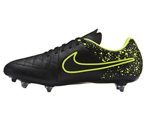 Nike Tiempo Genio Leather SG, Scarpe da Calcio Uomo, Nero/Verde (Nero/Nero-Volt), 43 EU