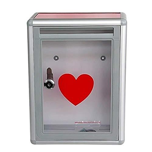 Xiao Jian cassette uit ABS-box voor dispenser, kleine aluminiumlegering, transparant, Suggestion Box met wandslot Mailbox, keuzeurne, 21,5 x 10,5 x 28,5 cm