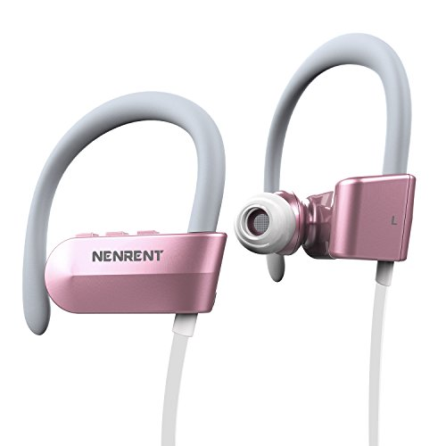 NENRENT Q12 Bluetooth Headset, Wireless Bluetooth V4.1 Hands-free Stereo Sport Headset Earphone Earpieces Earbud Calls with Mic for iPhone iPad iPod Samsung Galaxy LG HTC and Smartphones (Rose Gold)