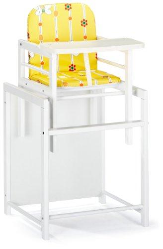 Schardt 01 112 02 02 089 Schardt Hochstuhl X-tra Rahmen aus massiven Buchenholz weiß lackiert Rücken und Sitz Folien Bienchen gelb gepolstert / abwaschbar