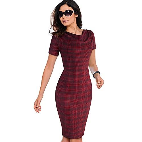 SHENGWEI Vestido de mujer vintage para trabajar, elegante, para fiestas, negocios, oficina, volantes, para mujer (color: rejilla roja, tamaño: S)