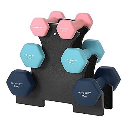 SONGMICS Juego de Mancuernas Hexagonales con Soporte - 2 x 1 kg, 2 x 2 kg, 2 x 3 kg, Neopreno con Acabado Mate, Pesas para Gimnasio en Casa, Rosado, Agua y Azul SYL612MK