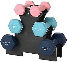 SONGMICS Korte halterset, hexagon, met halterstandaard, 2 x 1 kg, 2 x 2 kg, 2 x 3 kg, matte afwerking, neopreen coating,...