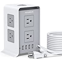 Aoumun 10FT Extension Surge Protector with 8 AC Outlets & 4 USB Ports