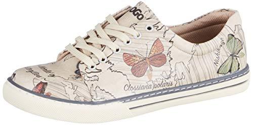DOGO Damen The World of Butterflies Sneaker, beige, 36 EU
