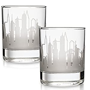 Greenline Goods Skyline Etched New York City Whiskey Glasses Gift (Set of 2) | Old Fashioned Tumbler – For New York City Lovers