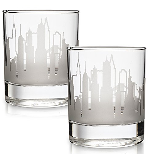 Greenline Goods Skyline Etched New York City Whiskey Glasses Gift (Set of 2) | Old Fashioned Tumbler...