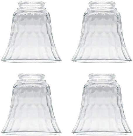 4 Pack Clear Hammered Style Beveled Bell Glass Shade for Lighting Fans Lamps Replacement Glass product image