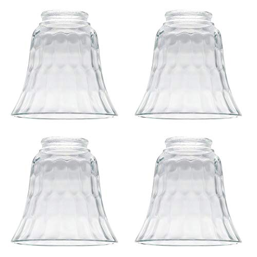 """4 Pack, Clear Hammered Style Beveled Bell Glass Shade for Lighting, Fans, Lamps Replacement Glass Shade Standard 2-1/8"""" Fitter Size, Perfect DIY Glass Accessories -  XIXIAN, S-41"""