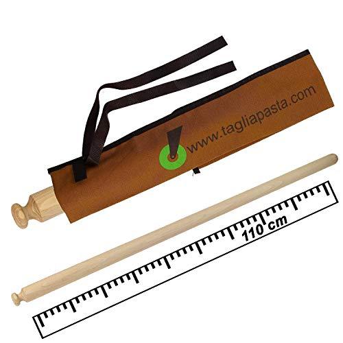 Rodillo de madera de haya con funda de algodón ecológico   Longitud 110 cm y diámetro 4,0 cm   Rodillo tendedero pasta fresca   Calidad cortador de pasta   Fabricado en Italia