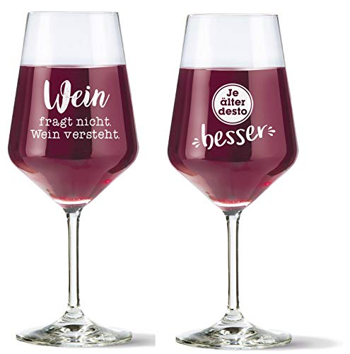 HandWerk Rotweingläser Geschenkset Weingläser Rotwein Set 2 Stück mit lustigen Sprüchen Wein fragt Nicht und Je älter desto 500 ml