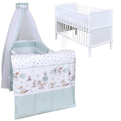 Baby Delux Babybett Komplett Set Kinderbett umbaubar zum Juniorbett weiß 140x70 Jack Bettset Matratze in vielen Designs (Waldtiere Mint)