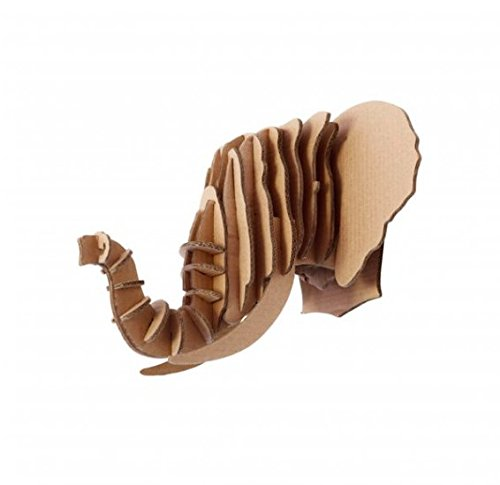 Escultura Cabeza Animal Elefante 3D En Cartón, Escultura Para Decoración de Pared DIY