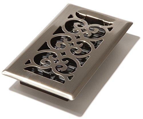 Decor Grates SPH408-NKL Floor Register, 4x8, Brushed Nickel Finish