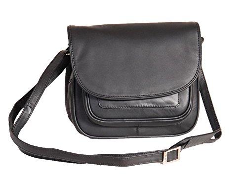 A1 FASHION GOODS Femmes Doux NOIR Sac à Bandoulière En Cuir Petit Style Classique Multi Zip Poches Flap Over Cross Body Bag - A94