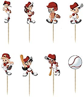 24PCS baseball Unicorn Cupcake Toppers For Kids Birthday Party Cake Decorations