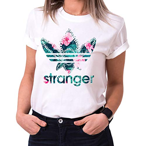 Stranger Aurora - T-Shirts Femme col Ras du Cou Things Demogorgon Elfie Dustin Jane Hopper Upside Down TV blu-Ray DVD, Größe2:Small, Farbe2:Blanc