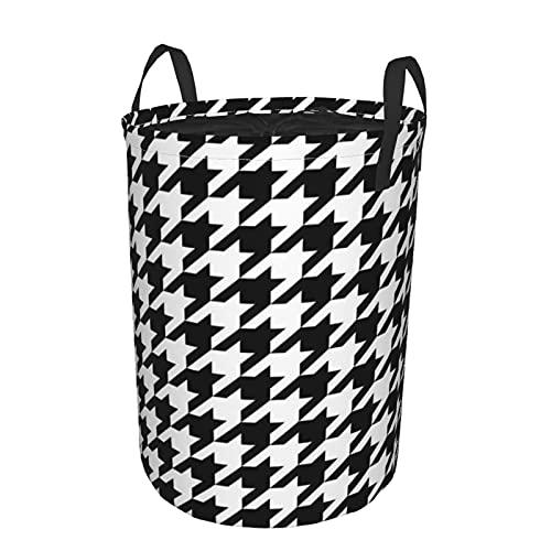 Cesta de almacenamiento, fondo de patrón de dientes de perro con cesto de lavandería grande plegable en blanco y negro con asas 21.6'x16.5'