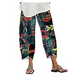 Suave Pantalones Anchos Algodón y Lino Pantalones de Fitness Pantalón de Rayas de Piernas Anchas Casual Tallas Grandes Harem Pantalón Polainas para Danza Yoga Pilates
