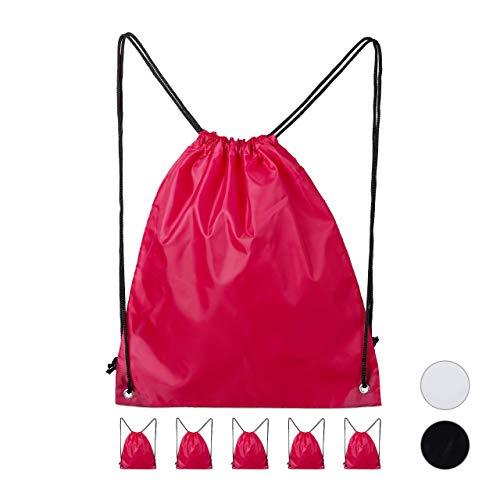 relaxdays Turnbeutel 6er-Pack, unbedruckt, Kordelzug, Stoffbeutel Damen, Herren, Kinder, Hipster Beutel 39 x 33 cm, pink