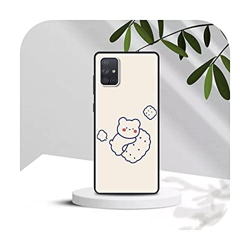 Funda de silicona para Samsung A91 A71 A51 5G A70 A50 A41 A40 A31 A30 A21s A20s A20e A12 A11 A10 Coque Cute Lovers Bear-B08-para Samsung A30
