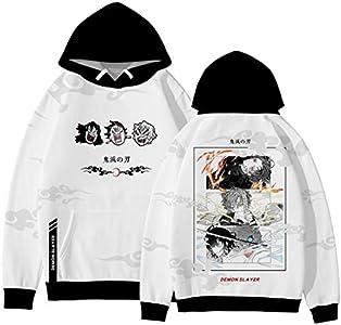 PANOZON Hombre Sudadera Demon Slayer Impresión 3D de Personajes de Anime Japonés Hoodie Unisexo con Capucha (L, Blanco 567-1)