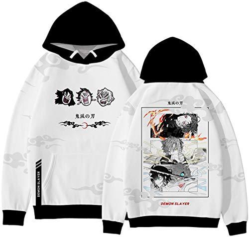 PANOZON Hombre Sudadera Demon Slayer Impresión 3D de Personajes de Anime Japonés Hoodie Unisexo con Capucha (2XL, Blanco 567-1)