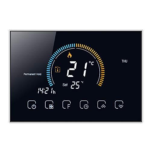 Decdeal Termostato Manuale per Caldaia a Gas - LCD Retroilluminato Schermo,Indice UV/Visualizzazione umidità/Funzione Blocco, Interruttore ℃ / ℉