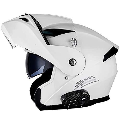 ACEMIC Casco de moto plegable con Bluetooth, homologado DOT/ECE, casco modular para motocicleta con doble capa, altavoz integrado, micrófono E, XXL = 63 ~ 64 cm