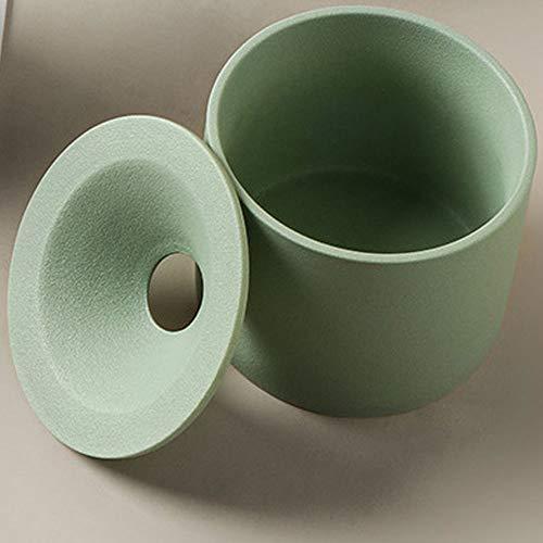 灰皿 ふた付き 大容量 おしゃれセラミック灰皿 蓋付き はいざら (円型) (グリーン)