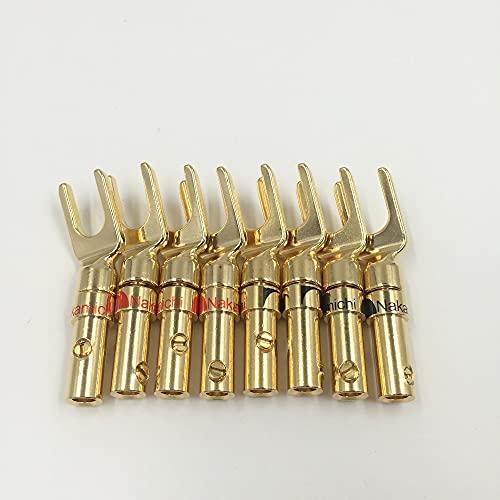 FYYONG. 12 sztuk Darmowa Wysyłka Nakamichi Mosiądz Gold Plated and Silver Plated Y Spade Głośnik Wtyczki Porozumienia Audio Fork Connector Adapter