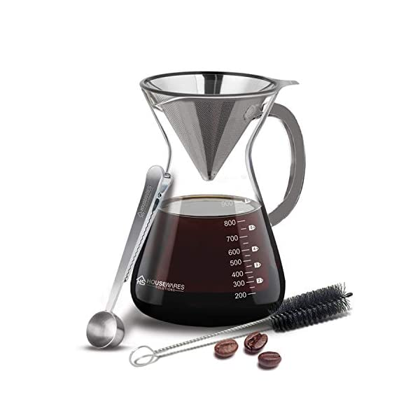 Pour Over Coffee Maker - 34oz Glass Carafe