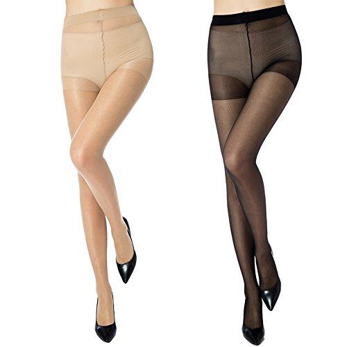 MANZI Damen Strumpfhose 6er Pack Ultra-dünnen 20 DEN, 3 Hautfarbe,3 Schwarz, Schwarz Beige, M