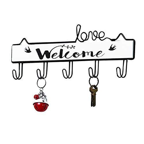 Danfuil Portachiavi organizzatore da parete di benvenuto (5 ganci) portachiavi rustico gancio portachiavi portachiavi decorazione retrò porta d'ingresso cucina auto portachiavi car