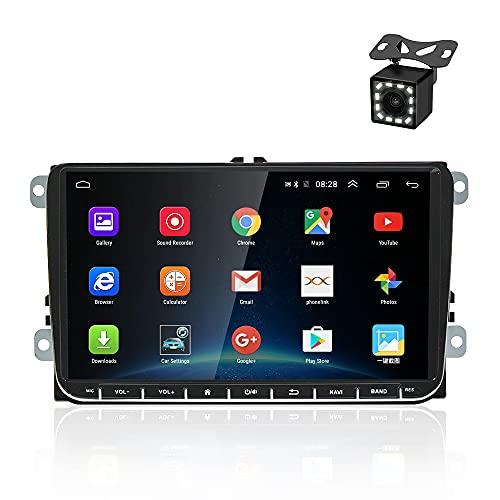 OiLiehu Autoradio Android con Navi per VW Touch Screen da 9 pollici Autoradio Supporto Bluetooth GPS Controllo del volante USB Sistema di collegamento doppio specchio + Telecamera di retromarcia
