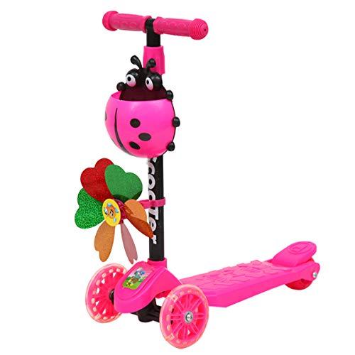 ZZALLL Windmill Ladybug Scooter Faltbarer und höhenverstellbarer 3-Rad-Roller für Kleinkinder Kinder Jungen Mädchen Alter 3-8