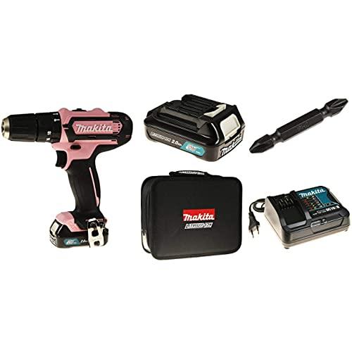 Makita HP331DSAP1 - Taladro atornillador inalámbrico (12 V, 24 W, incluye bolsa de transporte y puntas), color rosa