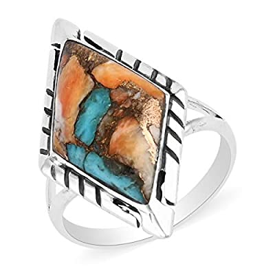 Santa Fe Style 925 Sterling Silver Mix Spiny Turquoise Ring Southwest Engagement Anniversary Wedding Bridal Women Jewelry Gift Size 6