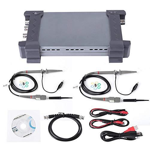 6074BD Kit de osciloscopio,4 canales 70MHz Ancho de banda 1GSa/s USB Almacenamiento portátil digital Osciloscopio + Sondas de osciloscopio, con kit de accesorios,Soporte Windows10 Windows 8 Windows 7