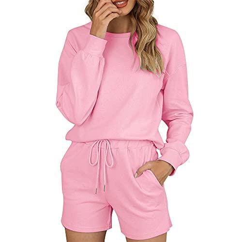 PRJN Conjunto de Pijama Estilo Jogging para Mujer, Conjunto de Pijamas de Manga Larga para Descansar, Ropa de Dormir, Pijamas para Mujer, Conjunto de Pijamas de satén de Seda para Mujer, Conjuntos