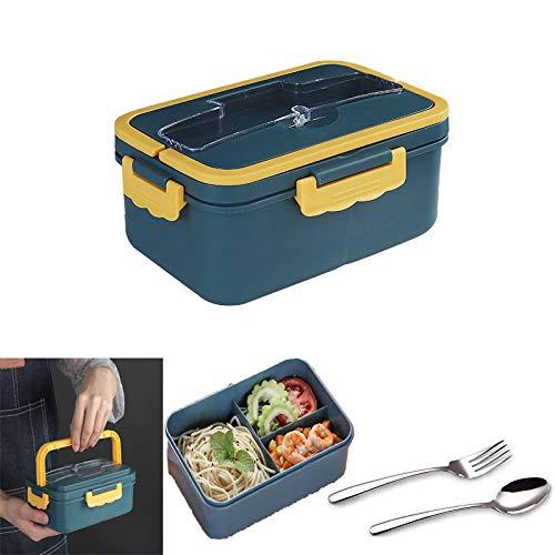 Guizu Kinder Snackbox, Bento Box mit unterteilten Fächern, Lunchbox mit 1 Fächern und Besteck, Auslaufsichere Brotzeitbox Vesperdose Mikrowelle Heizung- Perfekt für Unterwegs (1000ML)