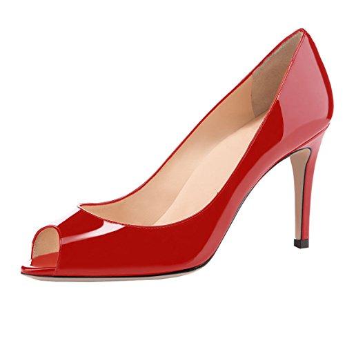 elashe Damen Peeptoe Pumps | 8cm Stiletto High Heel | Bequeme Lack Stilettos Rot EU40