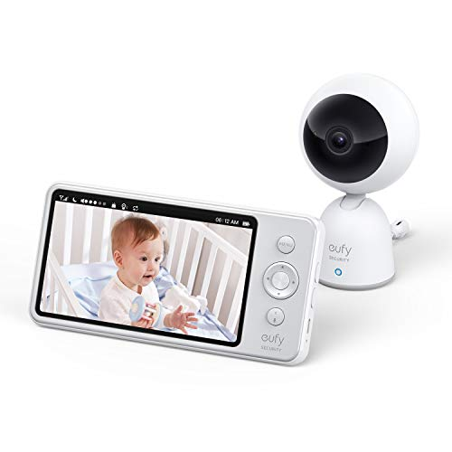 "eufy Security Video and Audio Baby Monitor, 720p Resolution, Large 5"" Display, 5,200 mAh Battery, 2-Way Audio, Night Vision, Lullaby Player, 1000 ft Range, Ideal for New Moms, Manual Pan & Tilt"