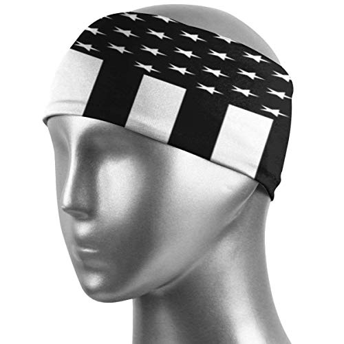 ZWHSY Venda American Flag in Black and White Sport Headbands Sweat Wicking Head Band Super Soft Stretchy Sweatband Breathable Workout Headbands for Men Women Kids
