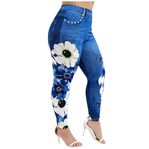 Best Bargain Novelty Yoga Pants - Flower Printed Jeans Casual Imitation Cowboy Leggings - Comfortabl...