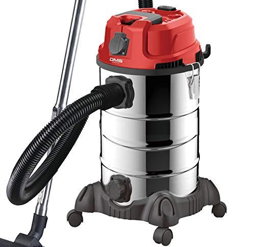 DMS Industriestaubsauger mit 2300 Watt | Nasssauger | Trockensauger | Edelstahl | Blasfunktion | Filterreinigungssystem | beutellos | 30 Liter Fassungsvermögen | Rot