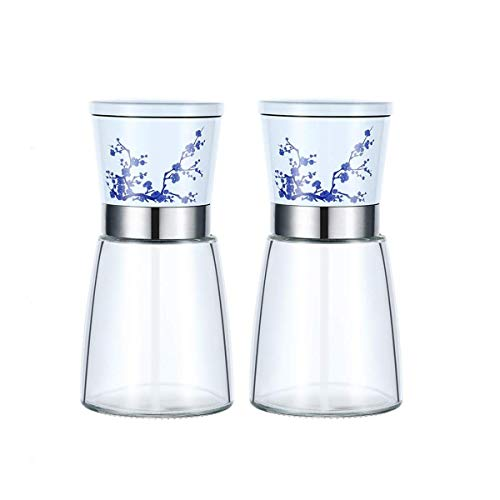 Juego de molinillo de sal y pimienta, salero y pimentero de cuerpo de vidrio con aspereza de cerámica ajustable, paquete de 2 molinillo de sal y pimienta de porcelana azul y blanca para cocinar barba