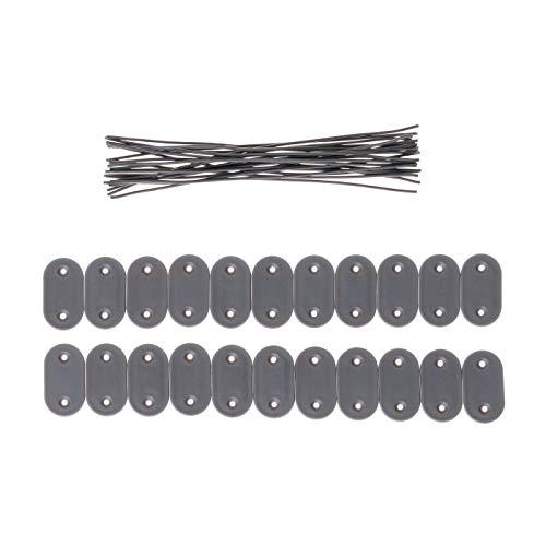 Ventanara Befestigungsclips PVC Sichtschutzmatten Befestigungsdraht 19cm (22 Stück, Grau)
