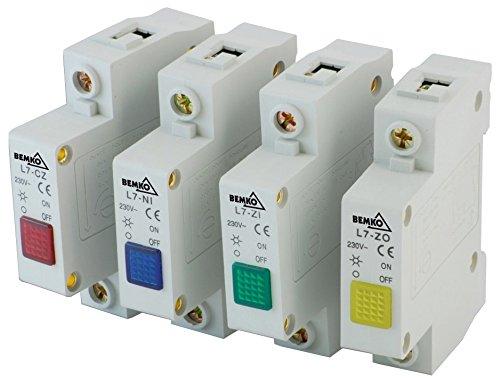 Verteiler-Einbaugeräte für Hutschiene Leuchtmelder Signal-Phasen-Kontroll-Leuchte (Leuchtmelder 1 Phase rot)
